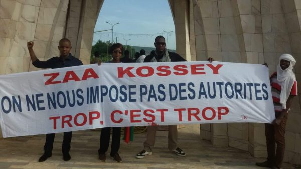 Des membres du mouvement Zaa Kossey lors de la manifestation de soutien aux jeunes de Gao