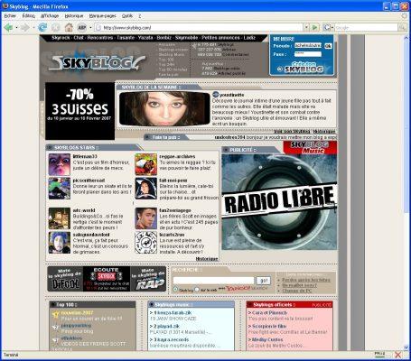 Capture d'écran de l'interface d'un Blog sur Skyblog